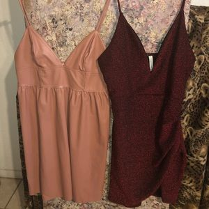 Faux Leather Salmon Dress&Deep V Red Glitter Dress